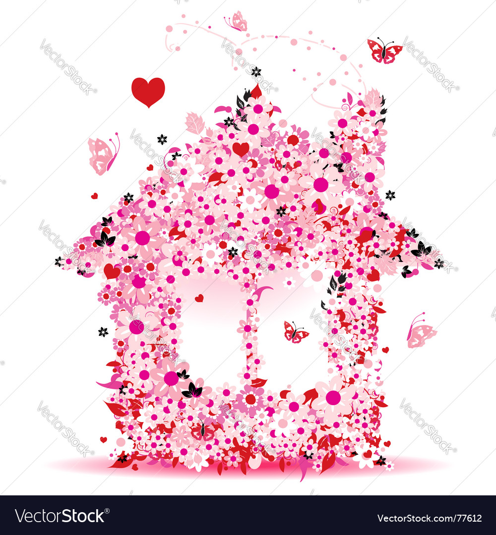 Floral house vector | Price: 1 Credit (USD $1)