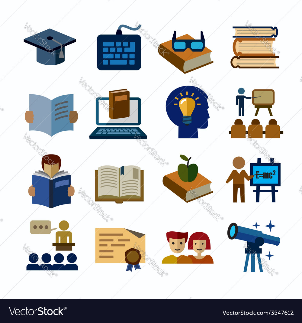Higher education icons vector | Price: 1 Credit (USD $1)