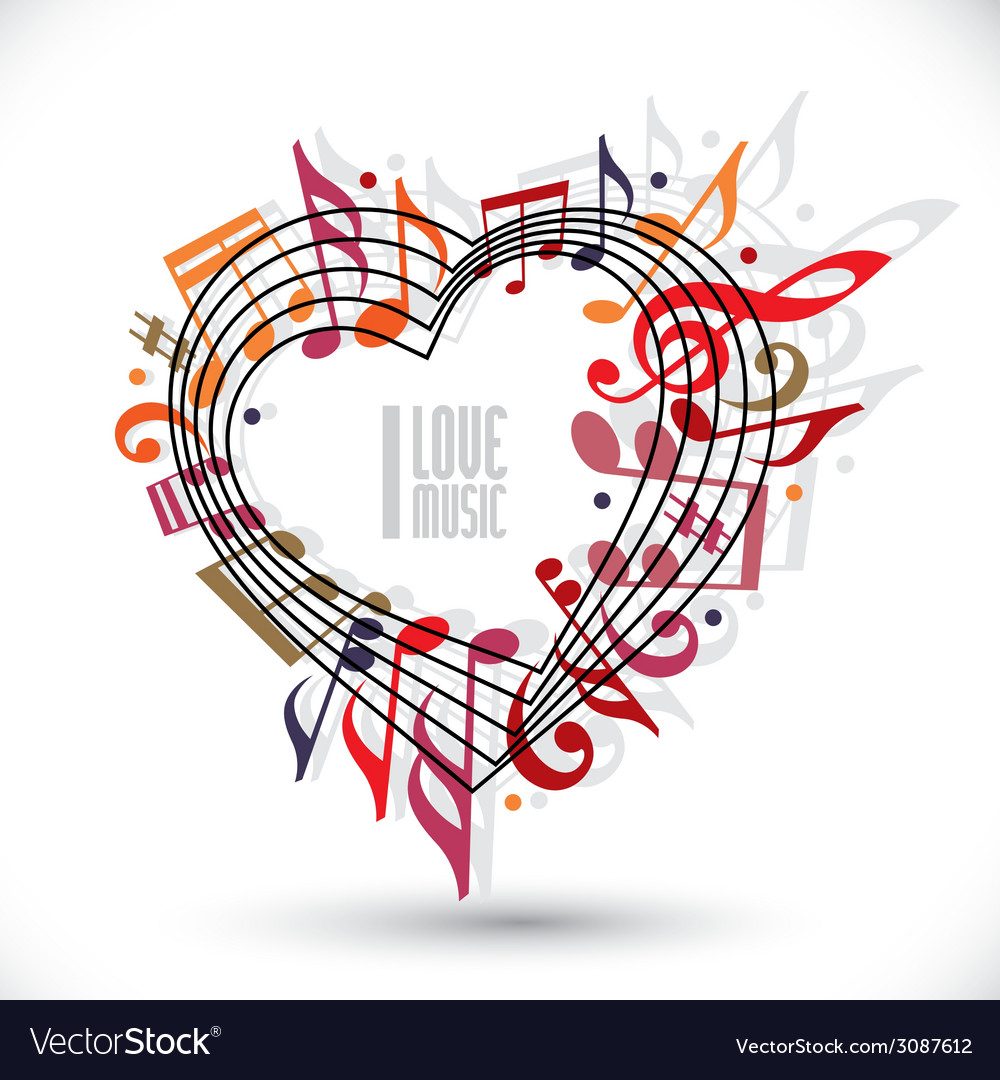 I love music heart made with musical notes and vector | Price: 1 Credit (USD $1)
