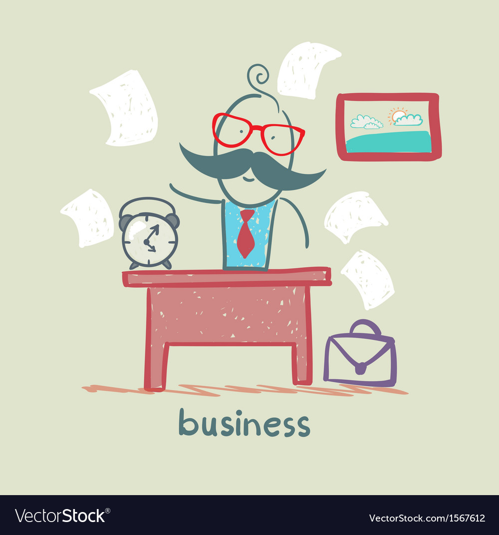 People working at the desk business vector | Price: 1 Credit (USD $1)