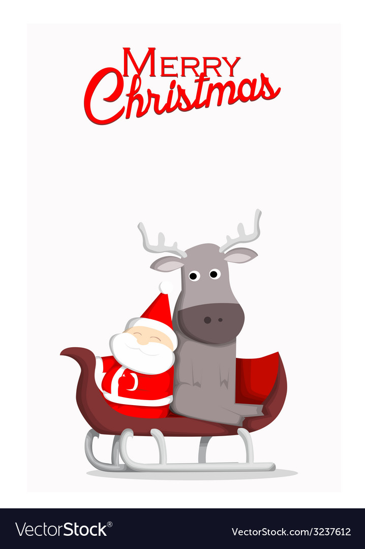 Santa and reindeer christmas background vector | Price: 1 Credit (USD $1)