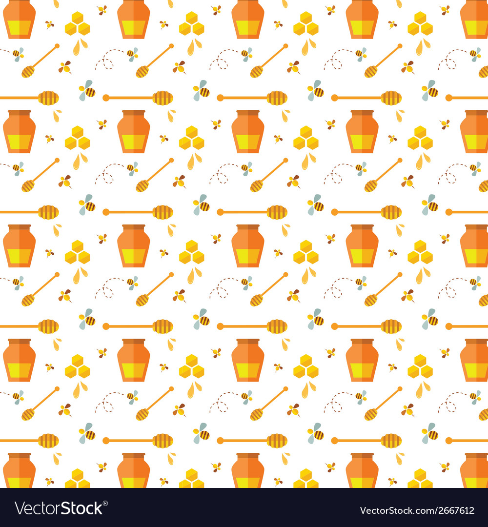 Seamless pattern with bee and honey vector | Price: 1 Credit (USD $1)