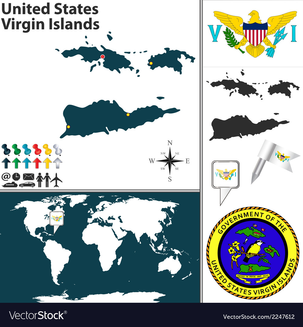 United states virgin islands map vector | Price: 1 Credit (USD $1)