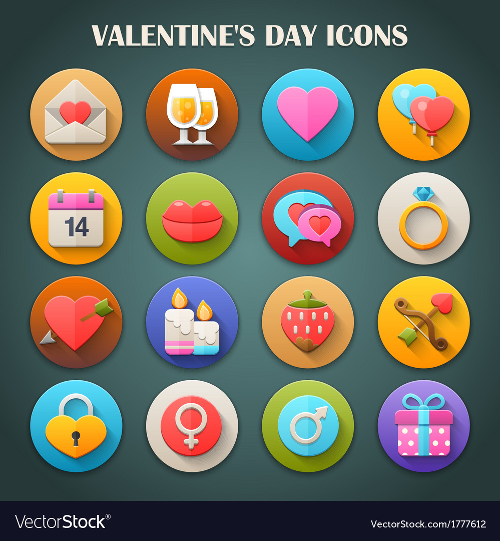 Valentines day icons with long shadow vector | Price: 1 Credit (USD $1)