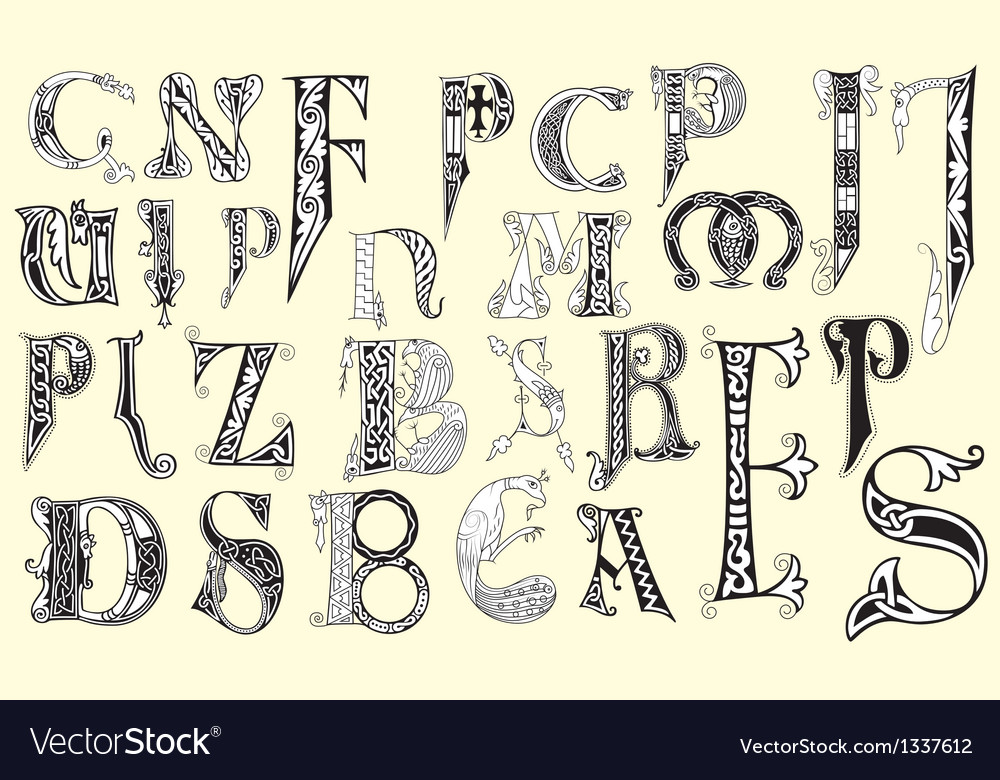 Various medieval capital letters vector | Price: 1 Credit (USD $1)