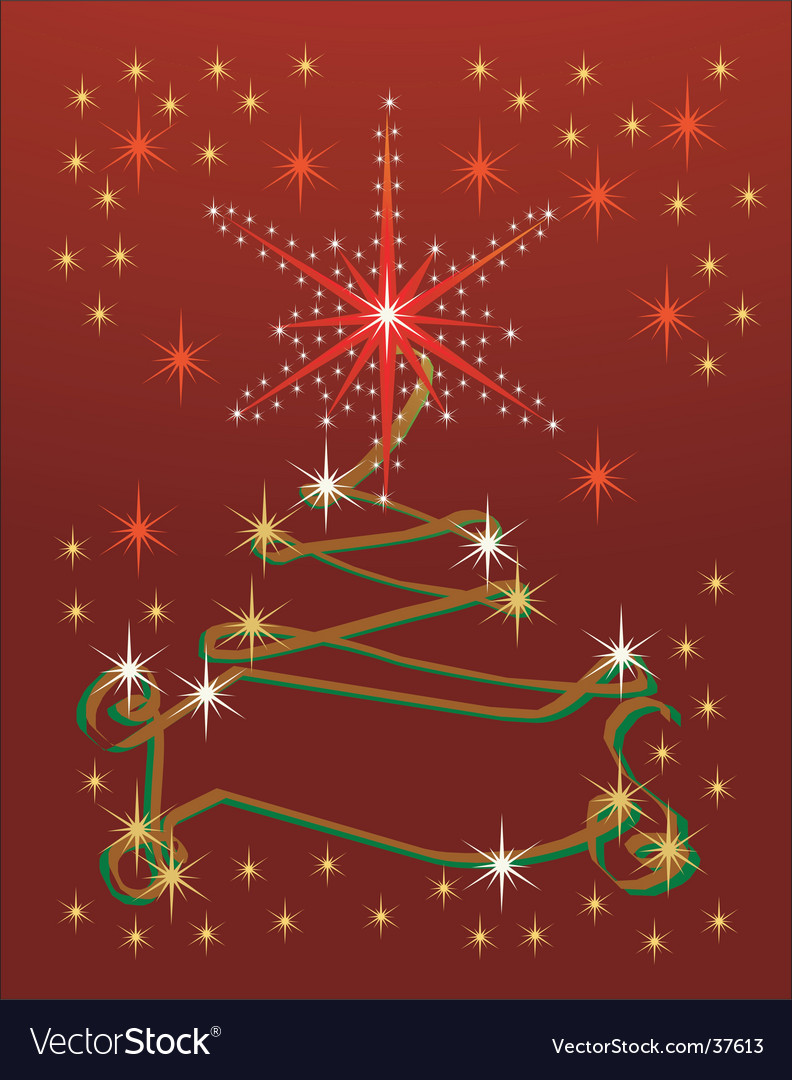 Abstract holiday ribbon tree background vector | Price: 1 Credit (USD $1)