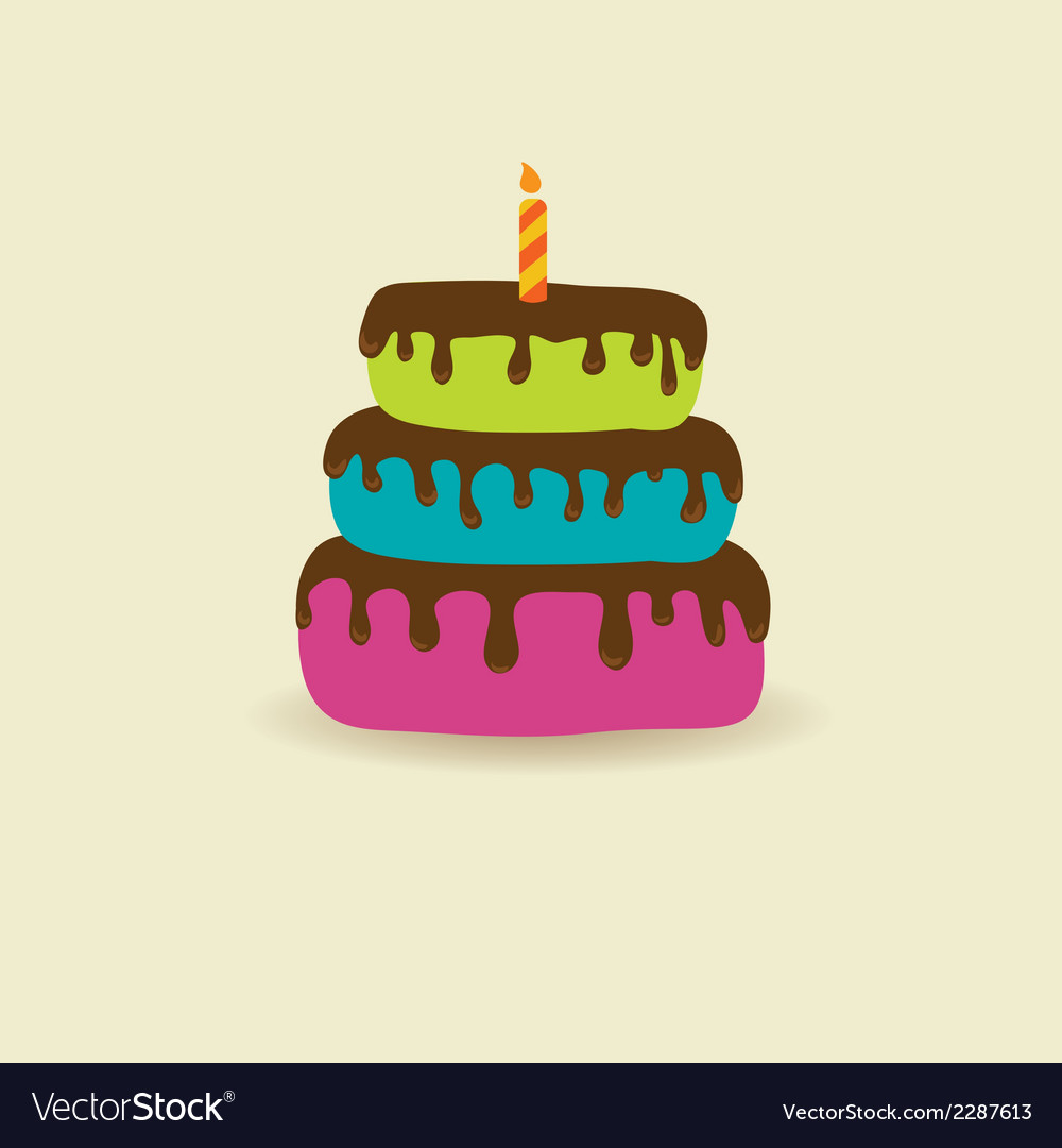 Birthday card with cute cake and candle vector | Price: 1 Credit (USD $1)