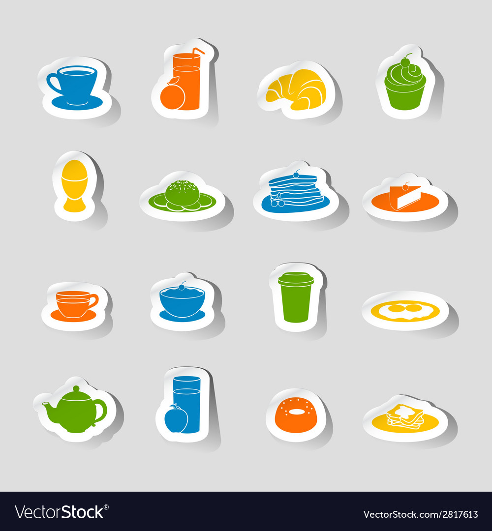 Breakfast icon sticker vector | Price: 1 Credit (USD $1)
