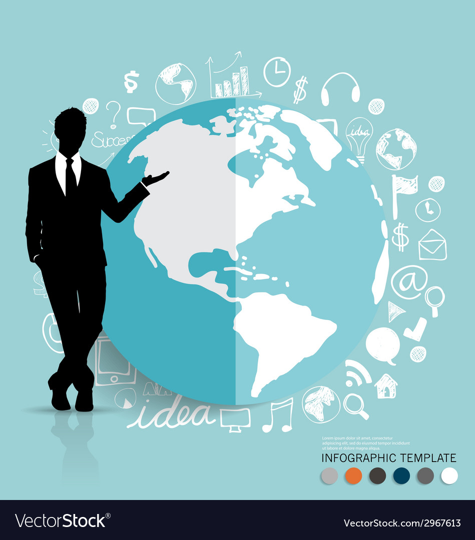 Businessman showing modern globe with application vector | Price: 1 Credit (USD $1)