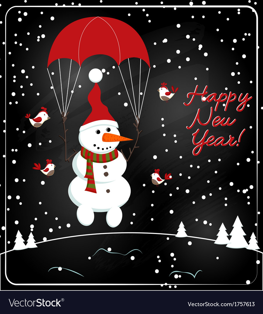 Christmas chalkboard decoration with snowman vector | Price: 1 Credit (USD $1)