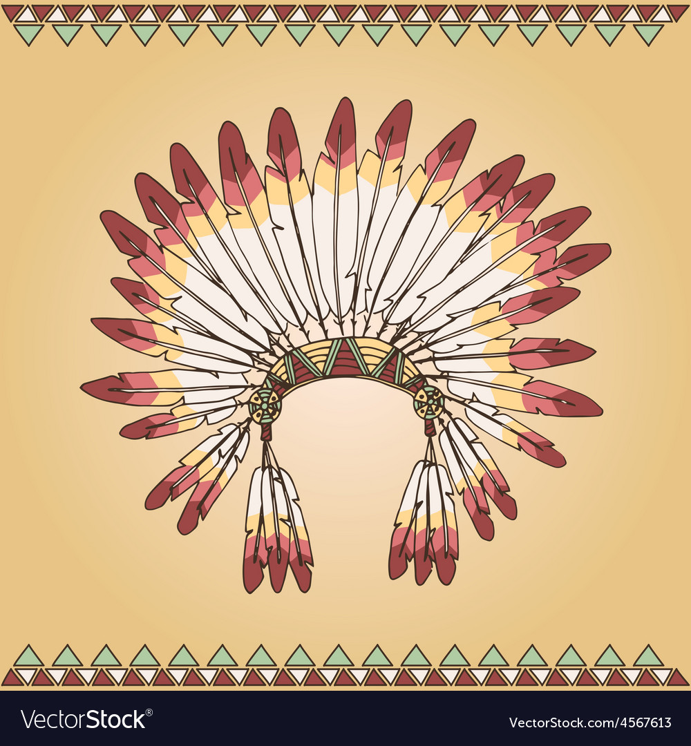 Hand drawn native american indian chief headdress vector | Price: 1 Credit (USD $1)
