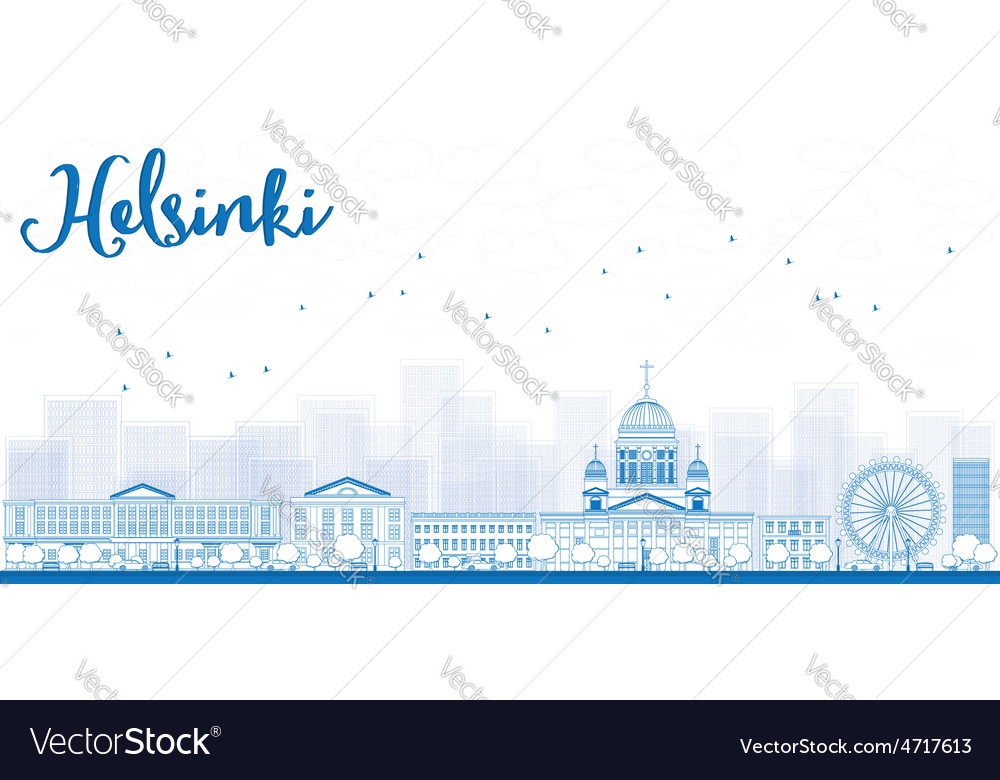 Outline panorama of old town in helsinki vector | Price: 1 Credit (USD $1)