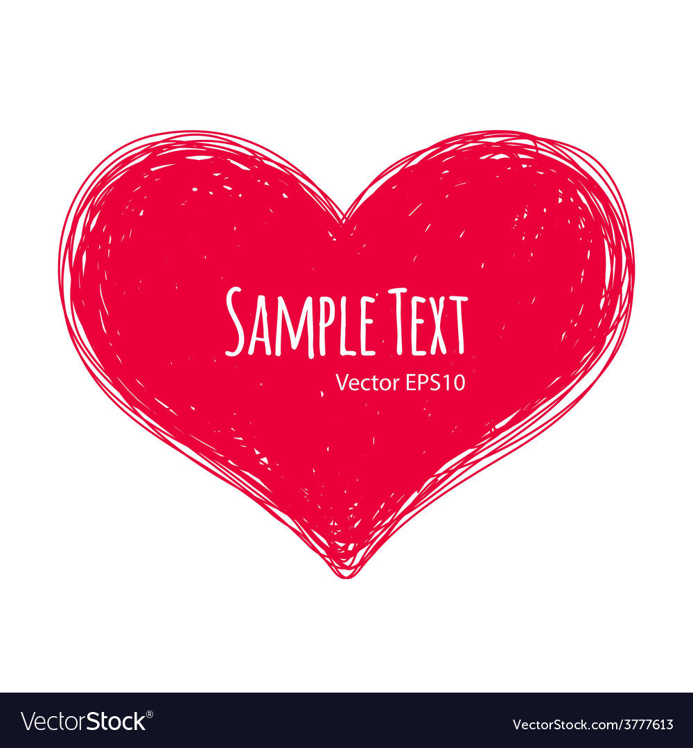 Pink doodle heart on white background vector   Price: 1 Credit (USD $1)
