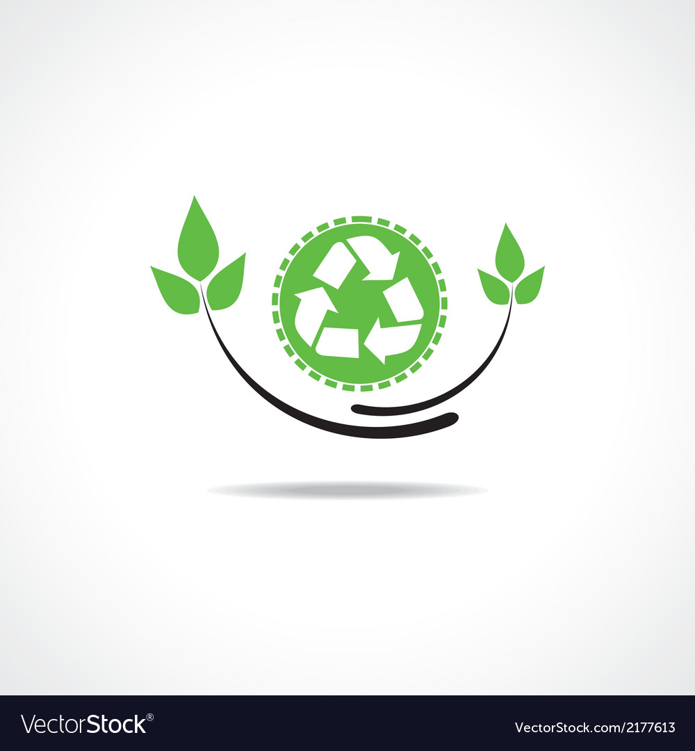 Recycle icon with green leaf design vector | Price: 1 Credit (USD $1)