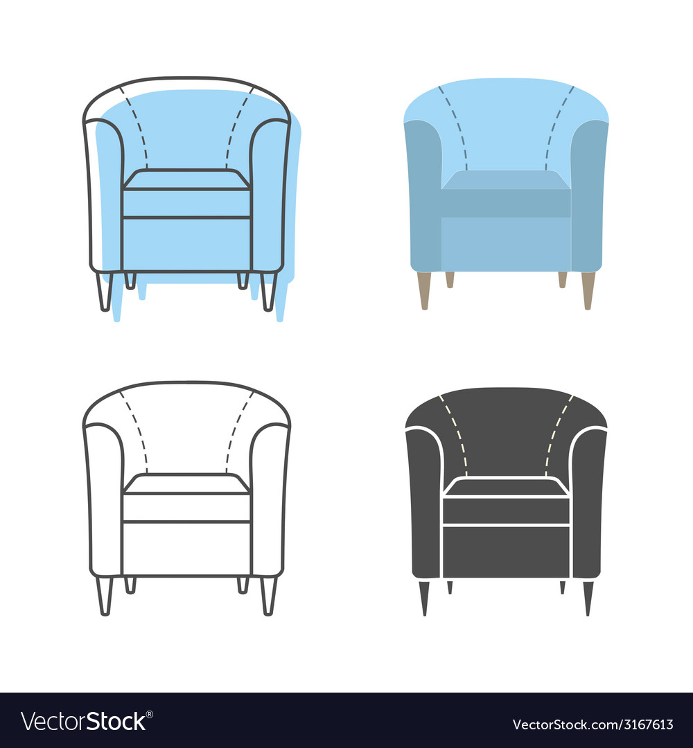 Set of colorfull and silhouette armchairs vector | Price: 1 Credit (USD $1)