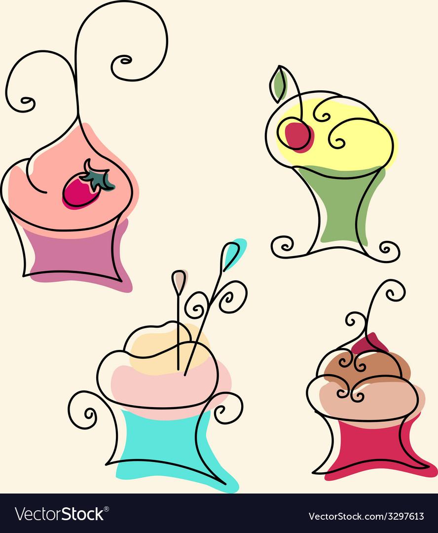 Set of cupcake vector   Price: 1 Credit (USD $1)