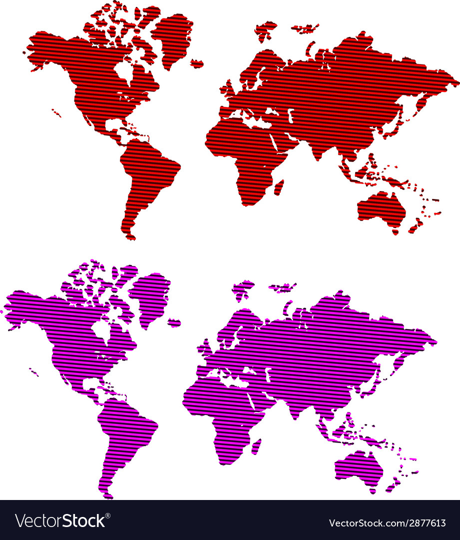 Striped world map vector | Price: 1 Credit (USD $1)
