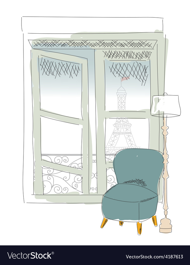 Window view from paris window eiffel tower vector | Price: 1 Credit (USD $1)