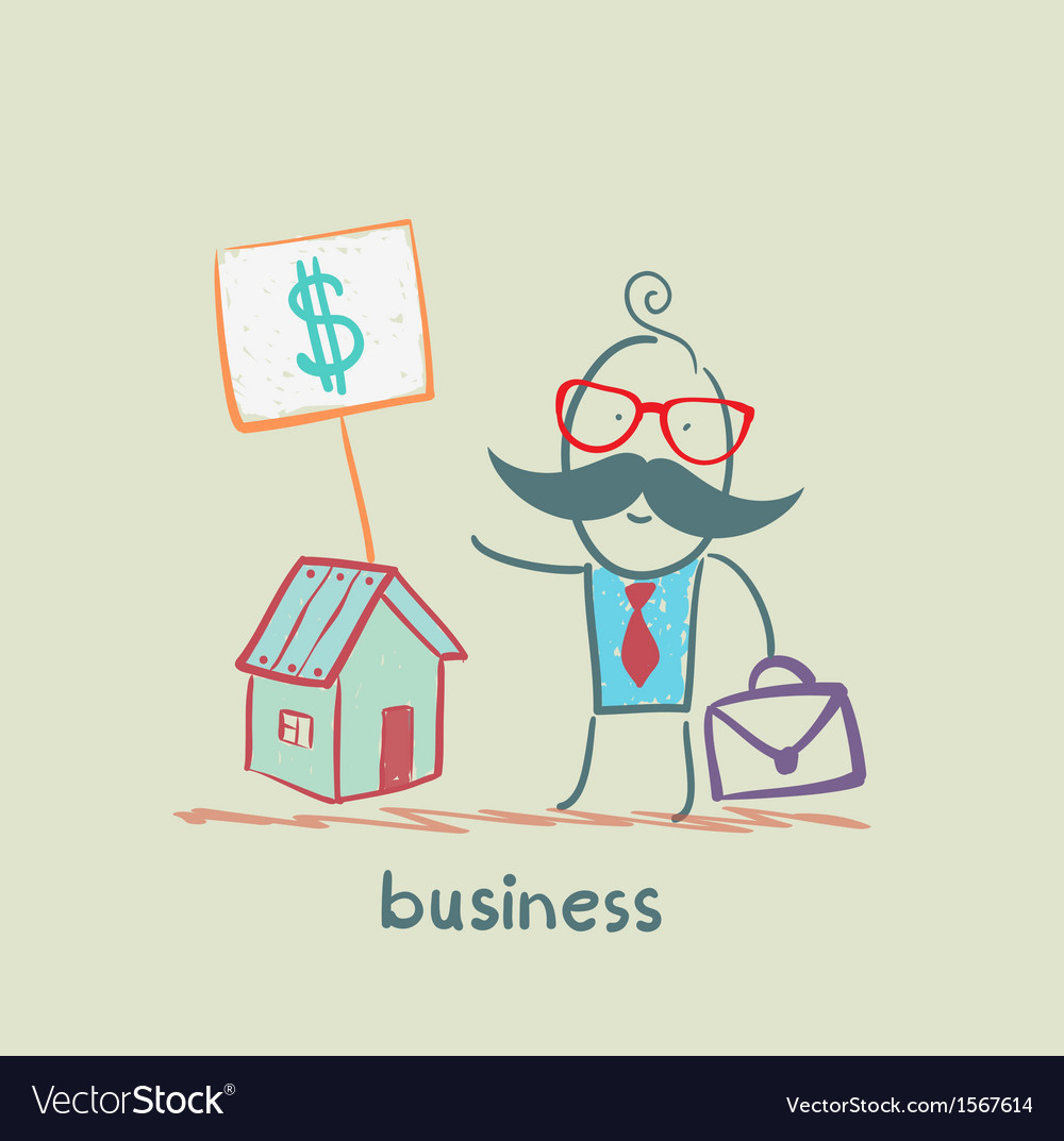 Business man to sell house vector | Price: 1 Credit (USD $1)