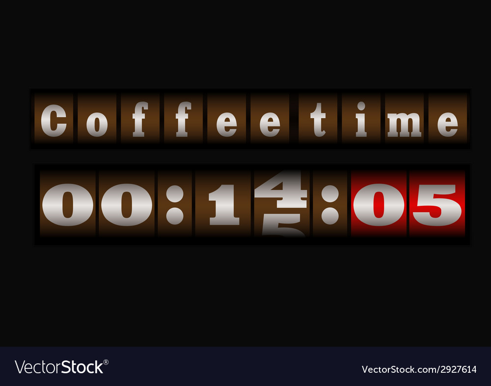 Coffee time clock vector | Price: 1 Credit (USD $1)