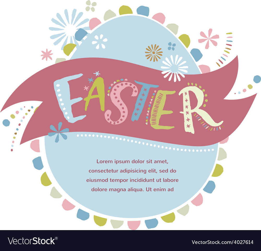 Happy easter - card vector | Price: 1 Credit (USD $1)