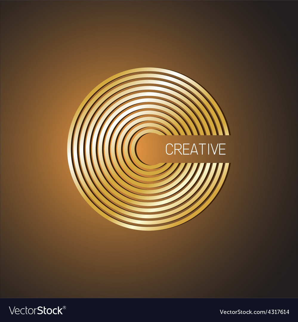 Letter c logo template golden wide lines style vector | Price: 1 Credit (USD $1)