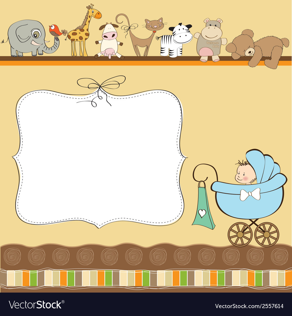 New baby boy announcement card with pram vector | Price: 1 Credit (USD $1)