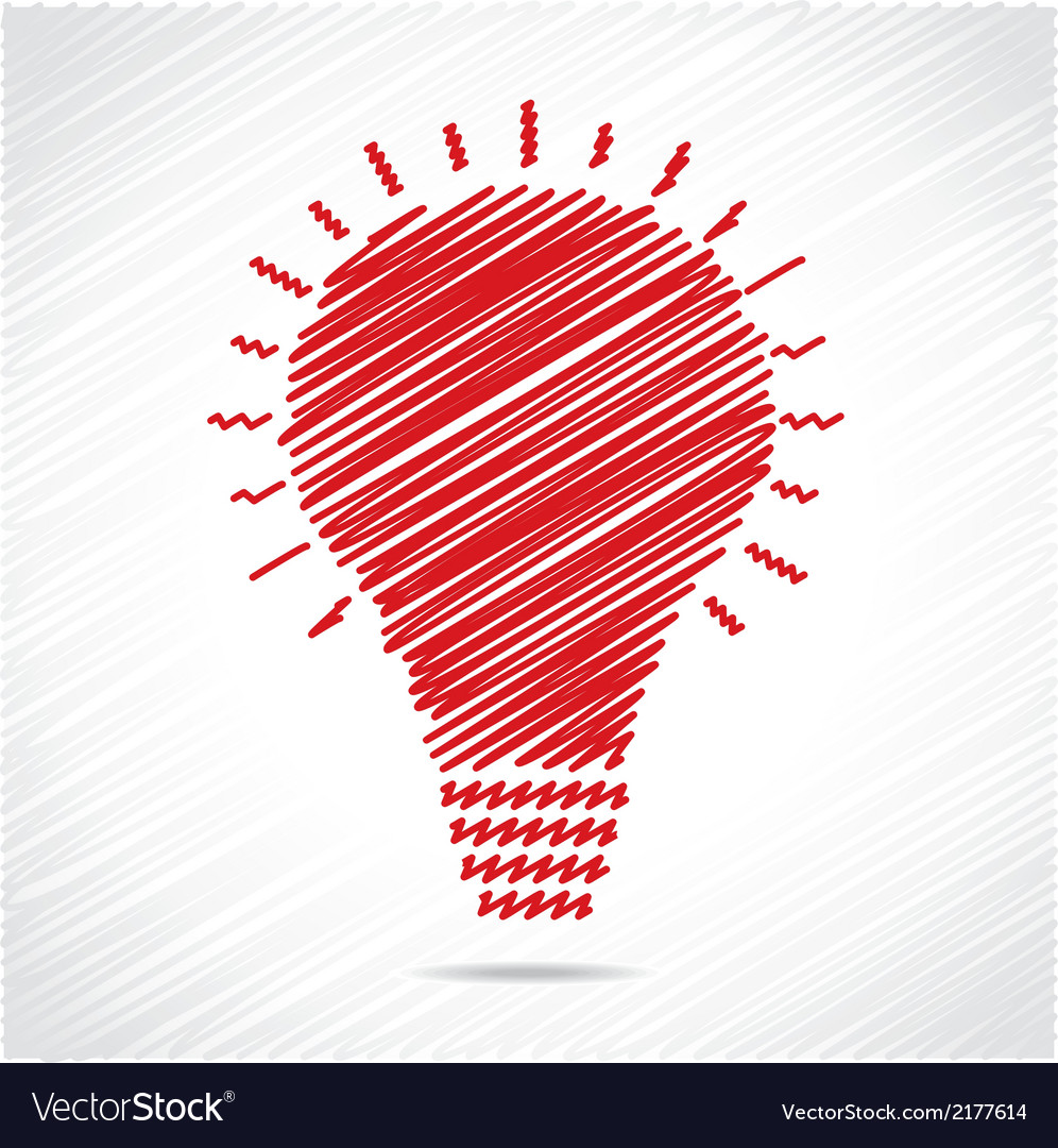 Red sketch bulb design vector | Price: 1 Credit (USD $1)