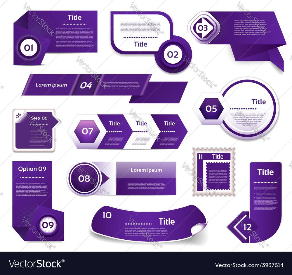 Set of blueviolet progress version step icons vector | Price: 1 Credit (USD $1)