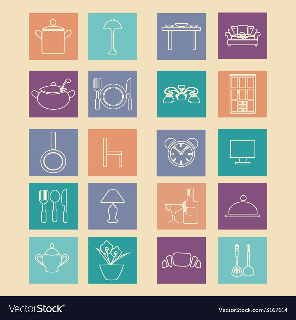 Set of home related icons elements- vector | Price: 1 Credit (USD $1)