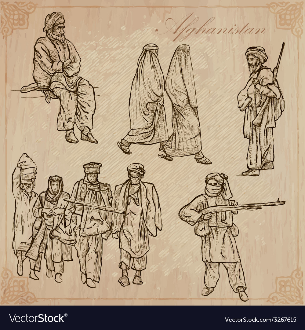 Afghanistan hand drawn pack no vector | Price: 1 Credit (USD $1)