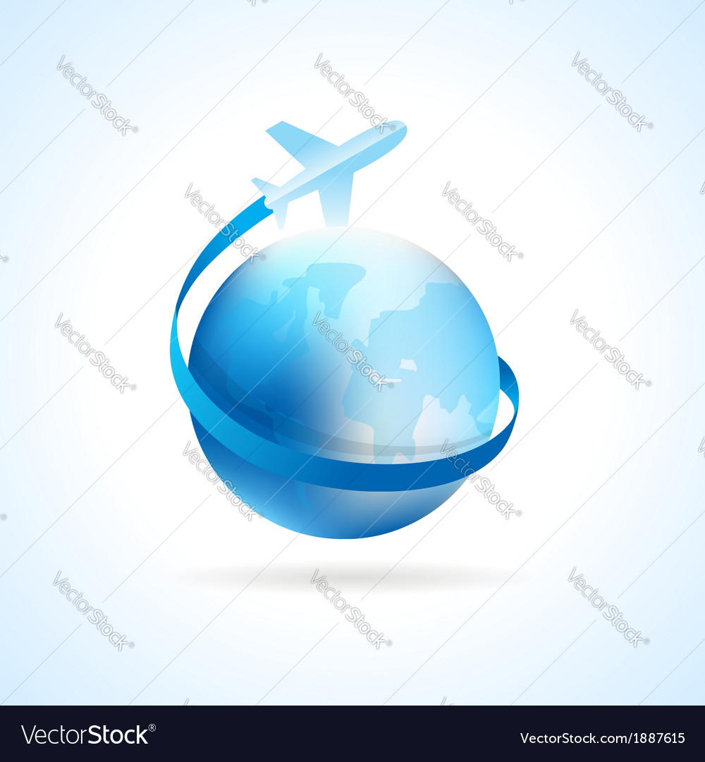 Airplane flight air fly travel takeoff blue globe vector | Price: 1 Credit (USD $1)