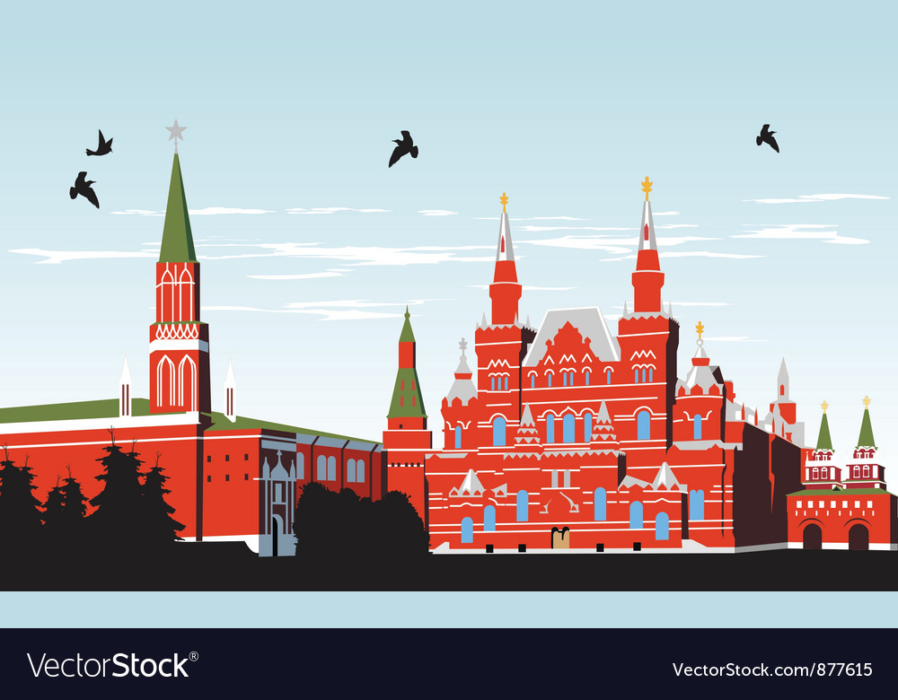 Birds fly over red square vector | Price: 3 Credit (USD $3)