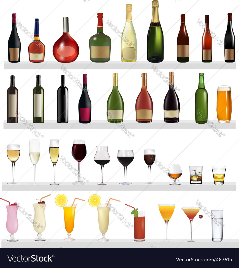 Bottles and cocktails vector | Price: 3 Credit (USD $3)