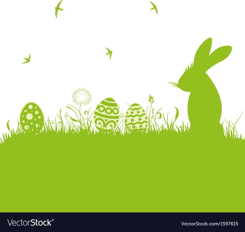 Easter meadow eggs bunny vector