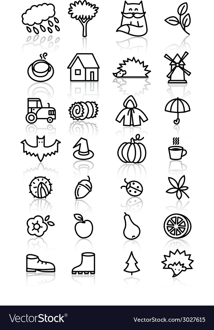 Fall icons vector | Price: 1 Credit (USD $1)