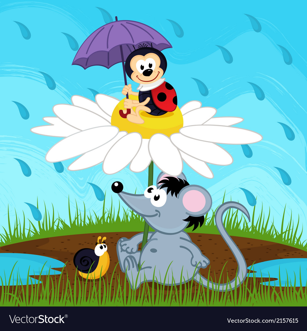 Mouse ladybug snail hiding from rain vector | Price: 1 Credit (USD $1)