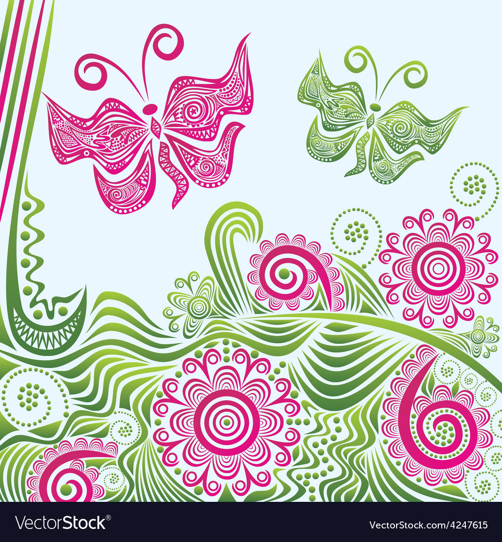 Nature pattern background butterflies vector | Price: 1 Credit (USD $1)