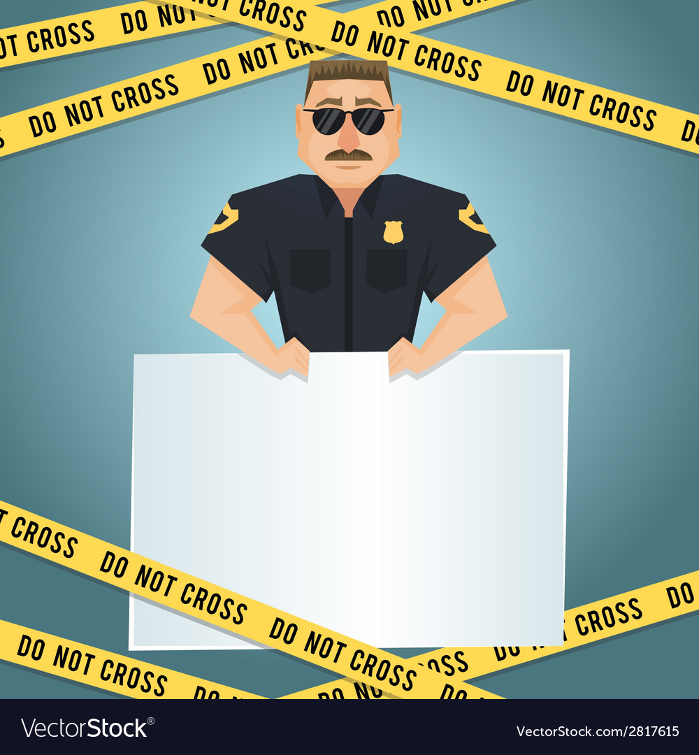 Policeman poster with yellow tape vector | Price: 1 Credit (USD $1)