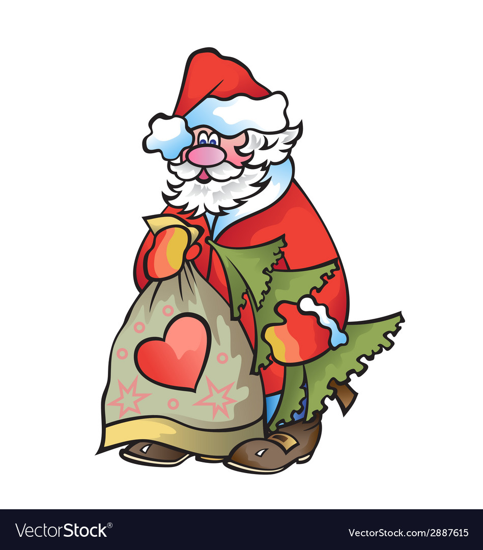 Santa claus with fir tree and bag with gifts in vector | Price: 1 Credit (USD $1)