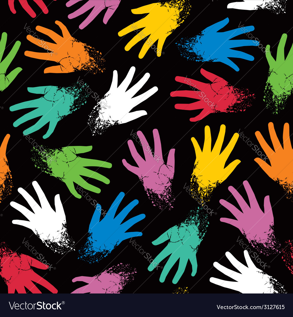 Seamless pattern of colored randomly hands vector | Price: 1 Credit (USD $1)