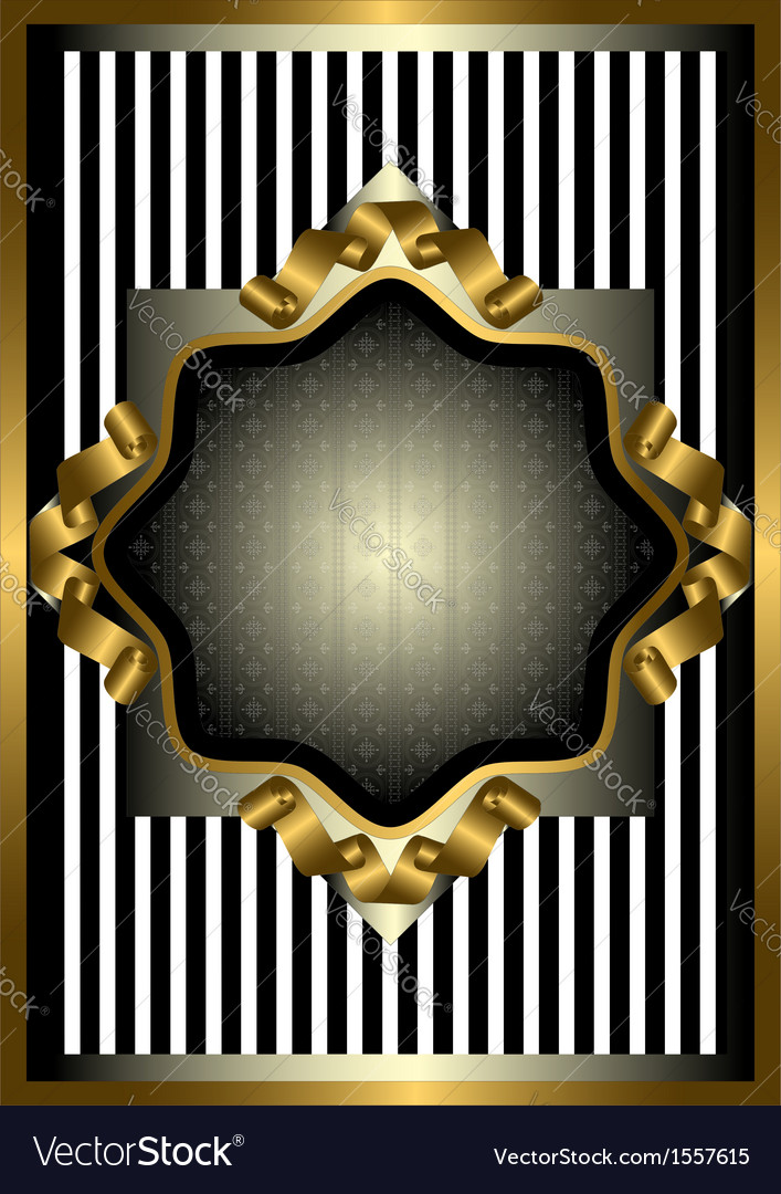Silver frame with gold decor on striped background vector | Price: 1 Credit (USD $1)