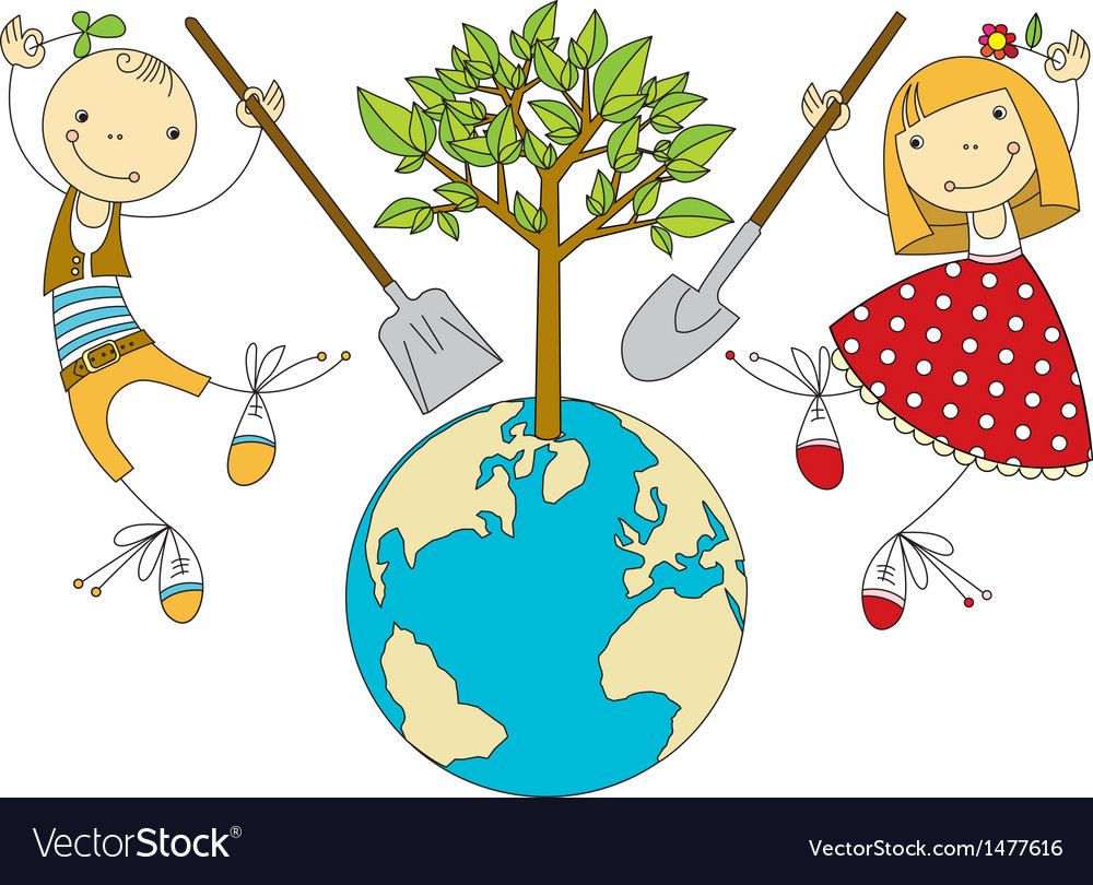 Children plant for planet vector | Price: 3 Credit (USD $3)