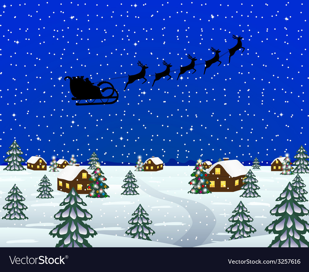 Evening landscape at christmas vector | Price: 1 Credit (USD $1)