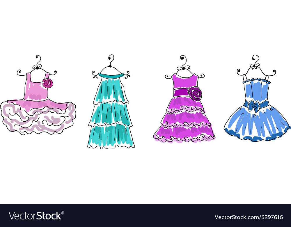 Four dresses of different coloring on hangers vector | Price: 1 Credit (USD $1)