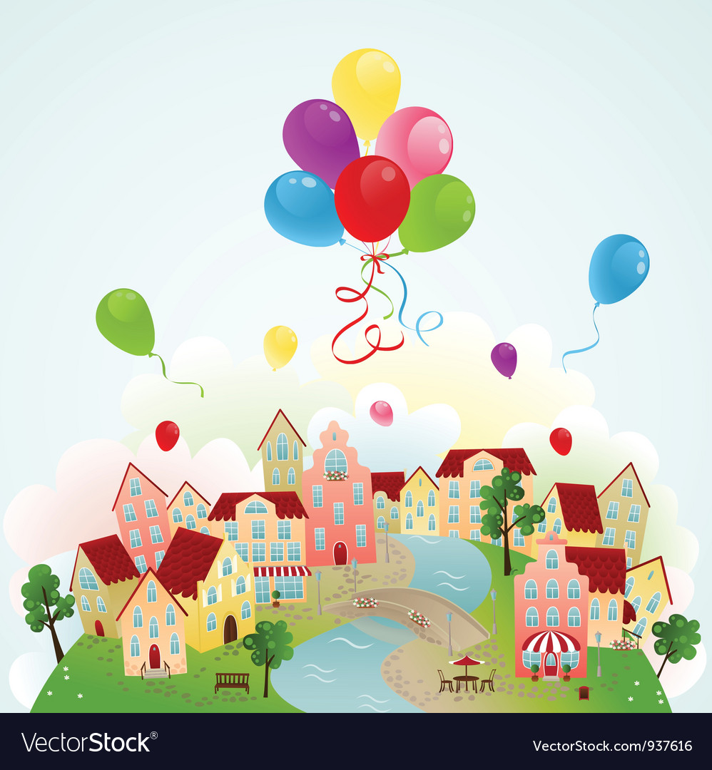 Holiday town vector | Price: 1 Credit (USD $1)