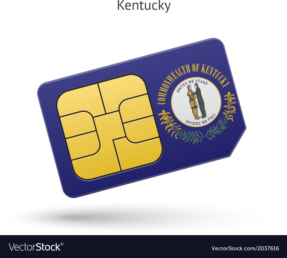 State of kentucky phone sim card with flag vector | Price: 1 Credit (USD $1)