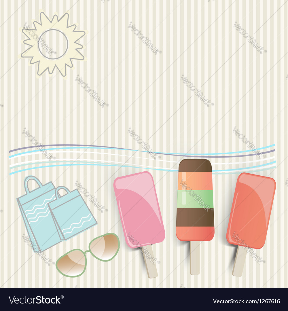 Summer ice cream at the seaside vector | Price: 1 Credit (USD $1)