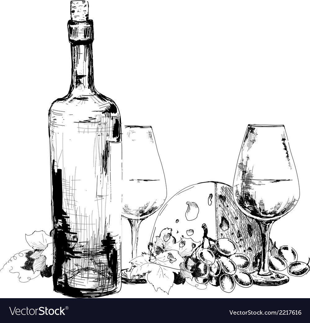 Wine with cheese and grapes vector | Price: 1 Credit (USD $1)