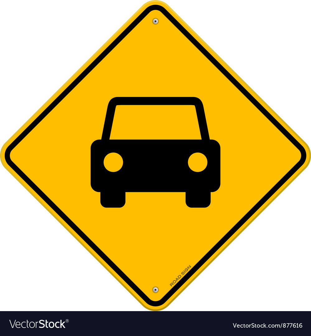 Yellow sign with car vector | Price: 1 Credit (USD $1)
